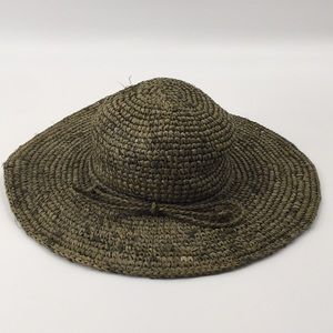 Accessories - Floppy Green Straw Tweed Hat Small/Medium